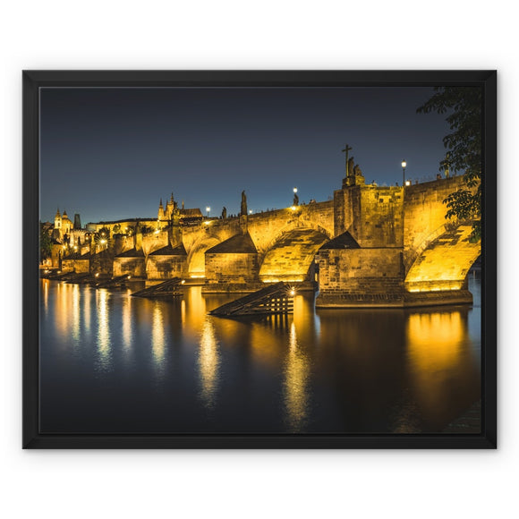 Luminescent Bridge! - Charles Bridge, Prague Framed Canvas - Sydspicsprints
