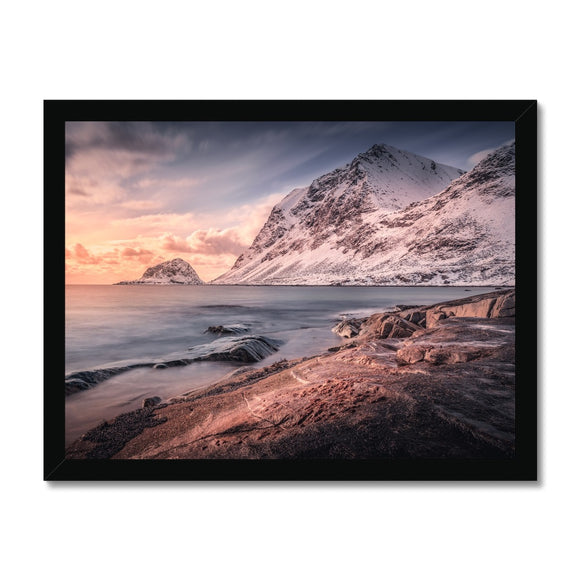 Fire and Ice! - Haukland Beach, Lofoten, Norway Framed Print