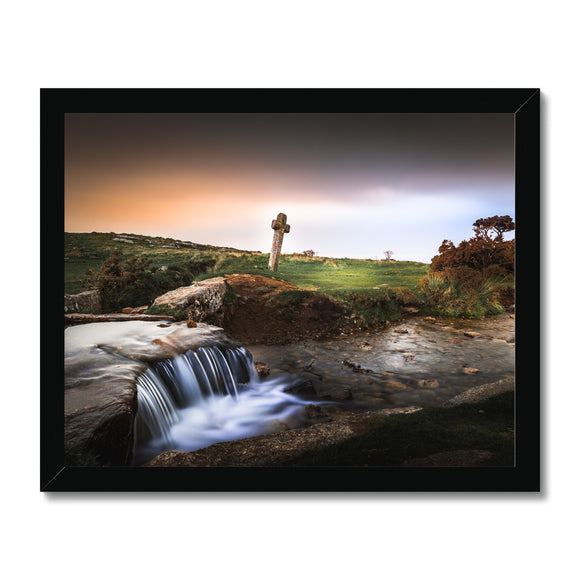 Windy Post Granite Cross - Dartmoor Framed Print