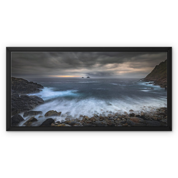 Break Through! - Porth Nanven, Cornwall Framed Canvas - Sydspicsprints