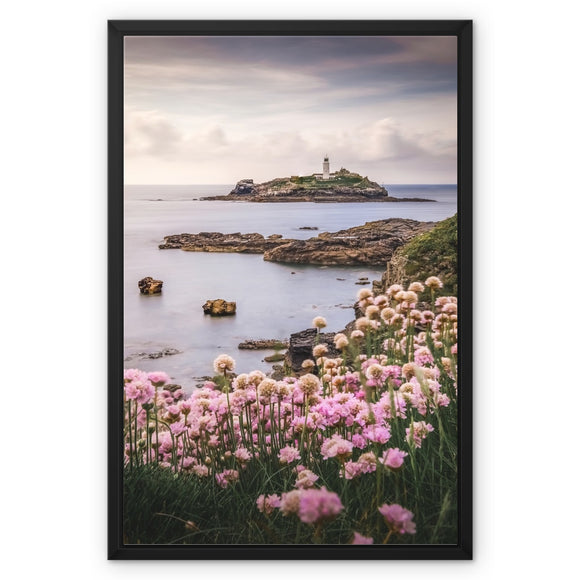 Coastal Springtime! - Godrevy Lighthouse, Cornwall Framed Canvas - Sydspicsprints