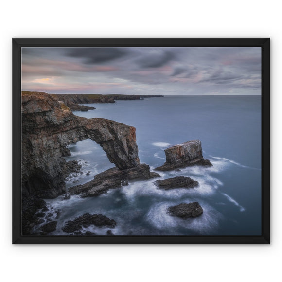 Green Bridge of Wales - Pembrokeshire Coast, Wales, United Kingdom Framed Canvas - Sydspicsprints