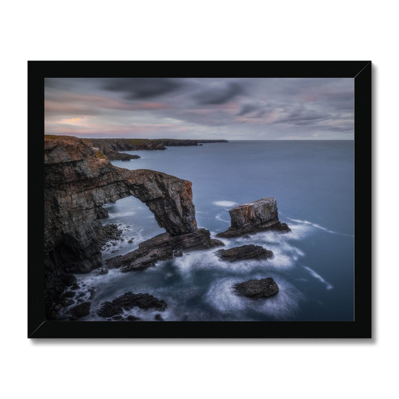 Green Bridge of Wales - Pembrokeshire Coast, Wales, United Kingdom Framed Print - Sydspicsprints