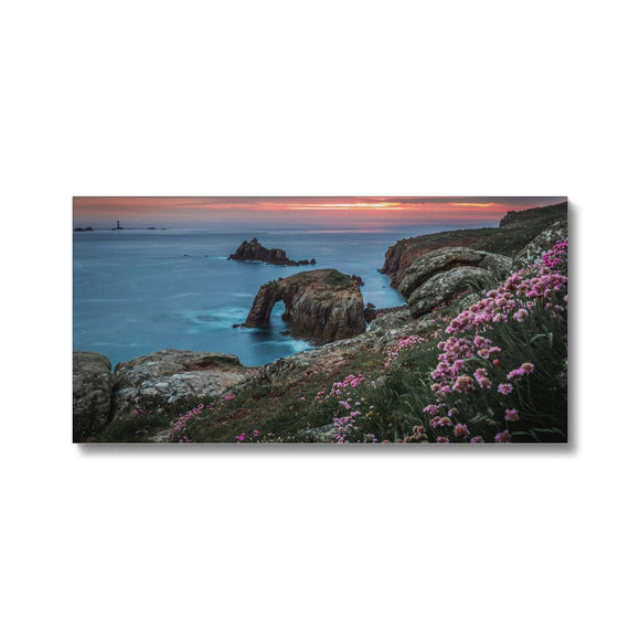 Spring Sunset at Enys Dodnan Arch! - Land's End, Cornwall Canvas - Sydspicsprints