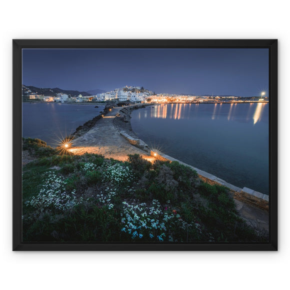 Aegean Twilight - Naxos, Greece Framed Canvas - Sydspicsprints