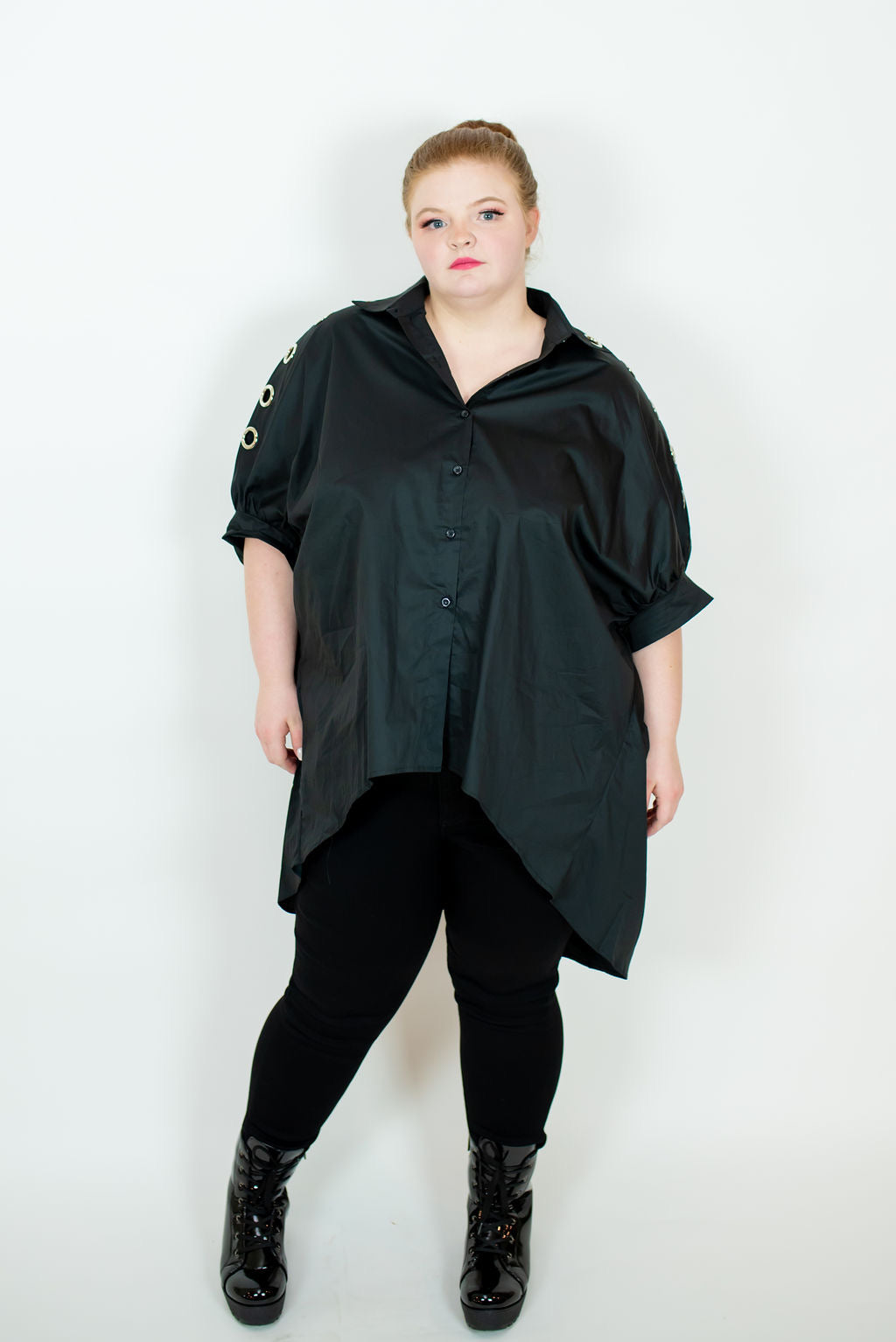 OVERSIZED RING SHIRT IN BLACK