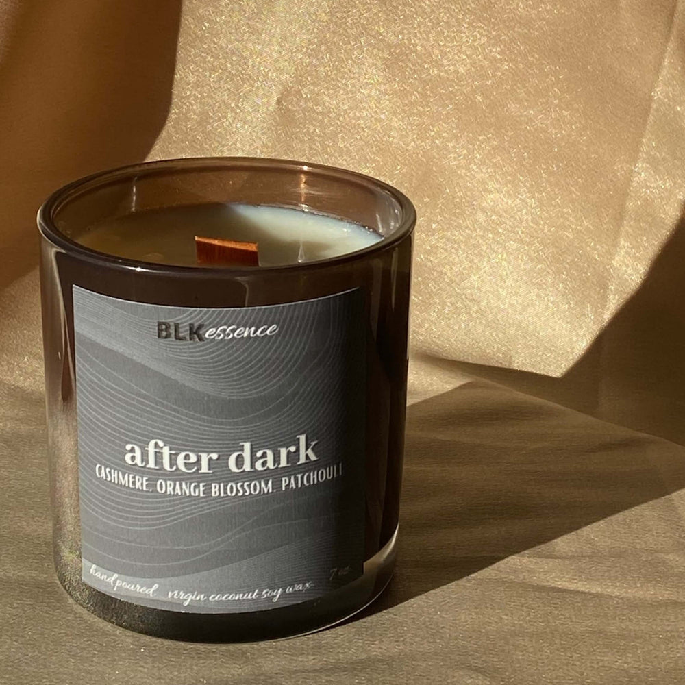 After Dark is our vegan scented candle with notes of cashmere, orange blossom, and patchouli.