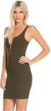 Olive Zip Tank Ribbed Dress - Emprada
