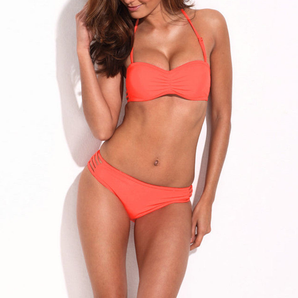 Neon Orange Strappy Push-Up Bandeau Top & Stretchy Cheeky Low Waist Bottom Bikini - Emprada