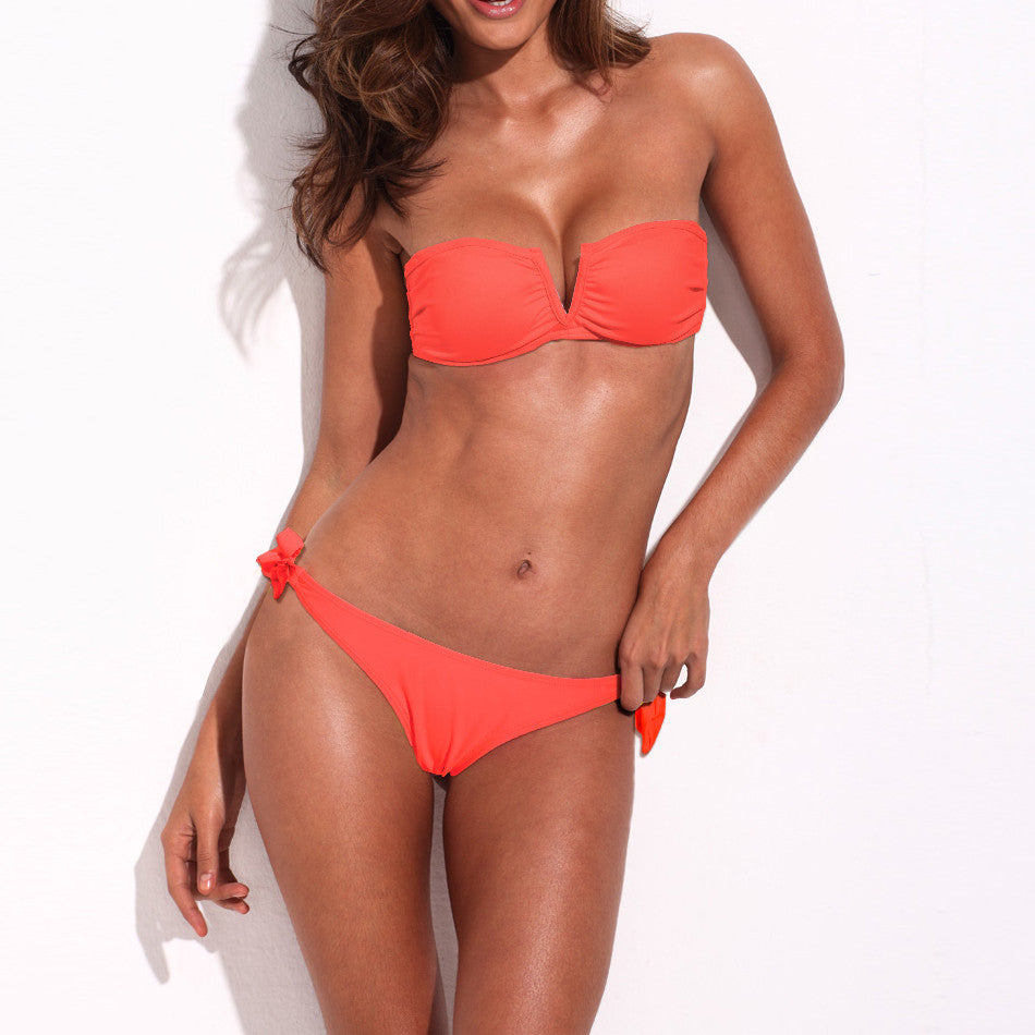 Neon Orange Full-Lined Bandeau Top Bikini Set - Emprada