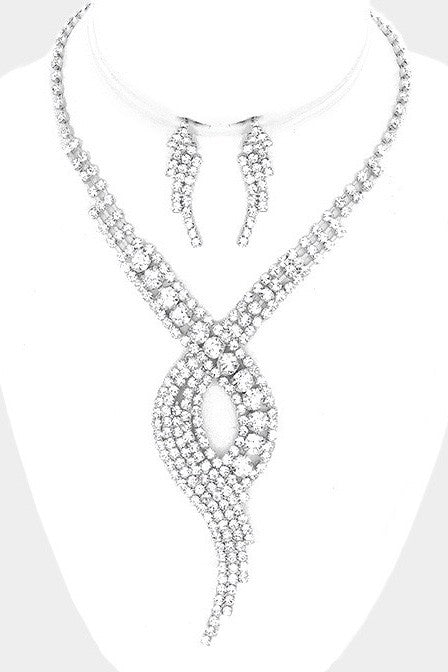 Swirl Rhinestone Necklace & Earrings Set