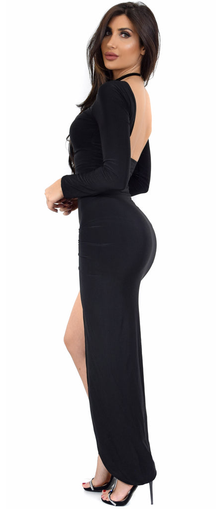 e3c84ebb22 Eyes On You Black High Slit Maxi Dress - Emprada