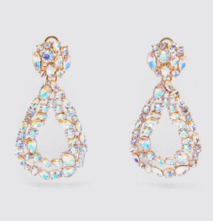 Tear Drop Gold Crystal Earrings