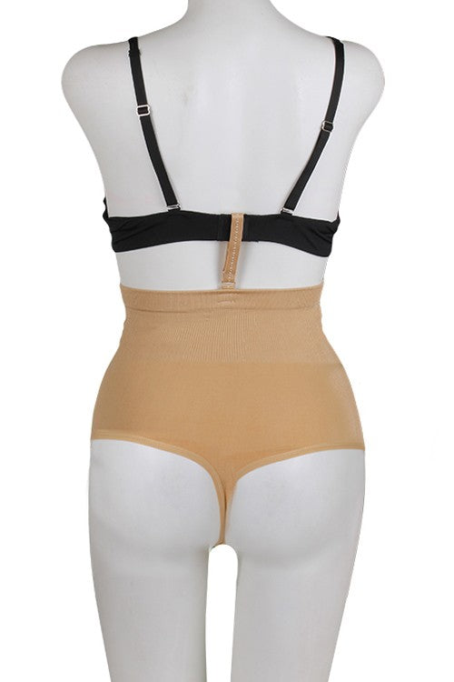 High Waist Thong Beige Shapewear