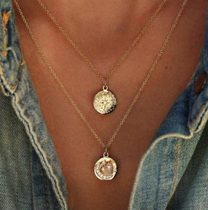 Crystal Moon and Star Pendant Necklace