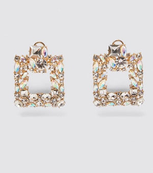 Square Gold Crystal Drop Earrings