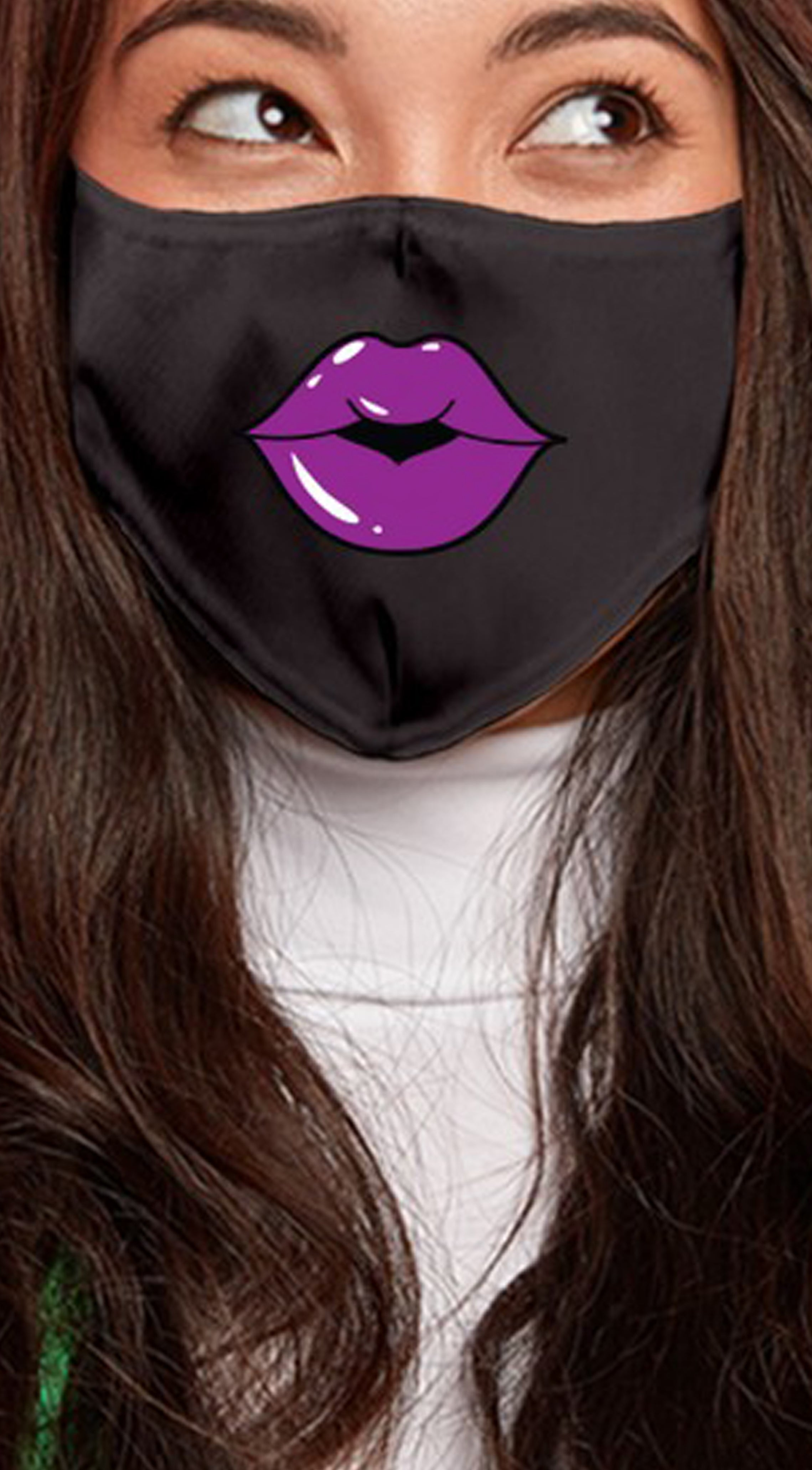 Lips Purple Black Women's Reusable Face Mask
