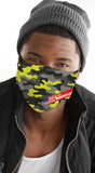 Camo Print Yellow Men's Reusable Face Mask