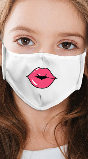 Lips Pink White Girl's Reusable Face Mask