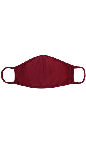 Burgundy Red Solid Reusable Face Mask