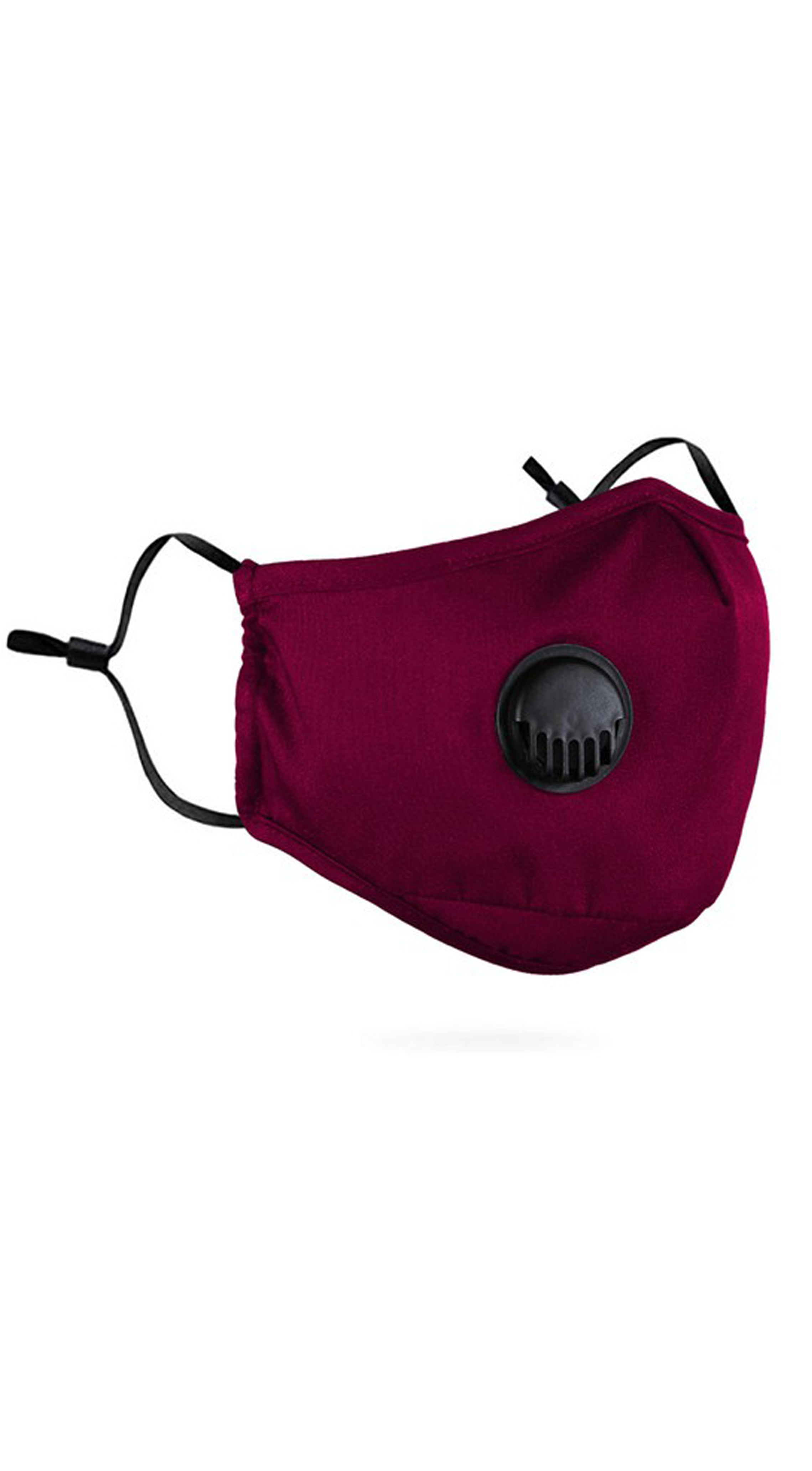 Respiratory Valve Activated Carbon Burgundy Red Face Mask