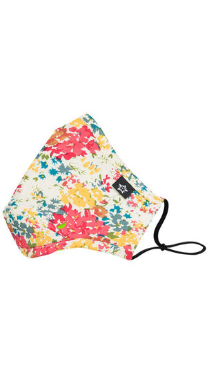Floral White Adjustable Reusable Face Mask