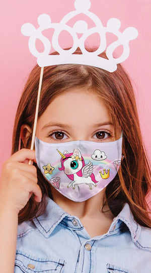 Unicorn Princess Purple Reusable Kids Face Mask