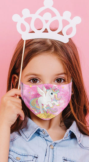 Unicorn Paradise Pink Reusable Kids Face Mask