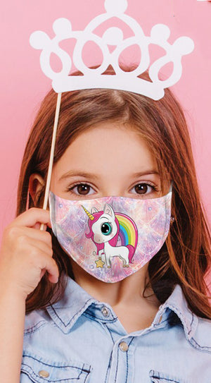 Unicorn Rainbow Days Multi Purple Reusable Kids Face Mask