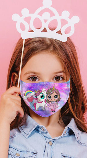 Unicorn Friends Multi Purple Reusable Kids Face Mask