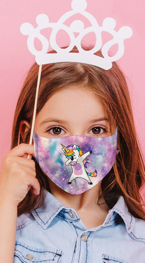 Unicorn Dance Multi Purple Reusable Kids Face Mask