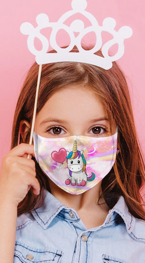 Unicorn Love Purple Reusable Kids Face Mask