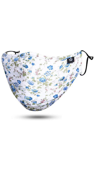 Floral White Blue Adjustable Reusable Face Mask