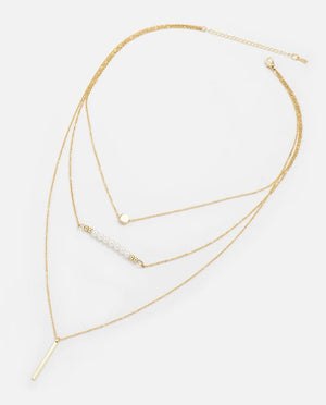 Multilayer Gold Pearl Bar Chain Necklace