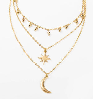 Moon and Star Gold Multi Layered Beads Choker Necklace