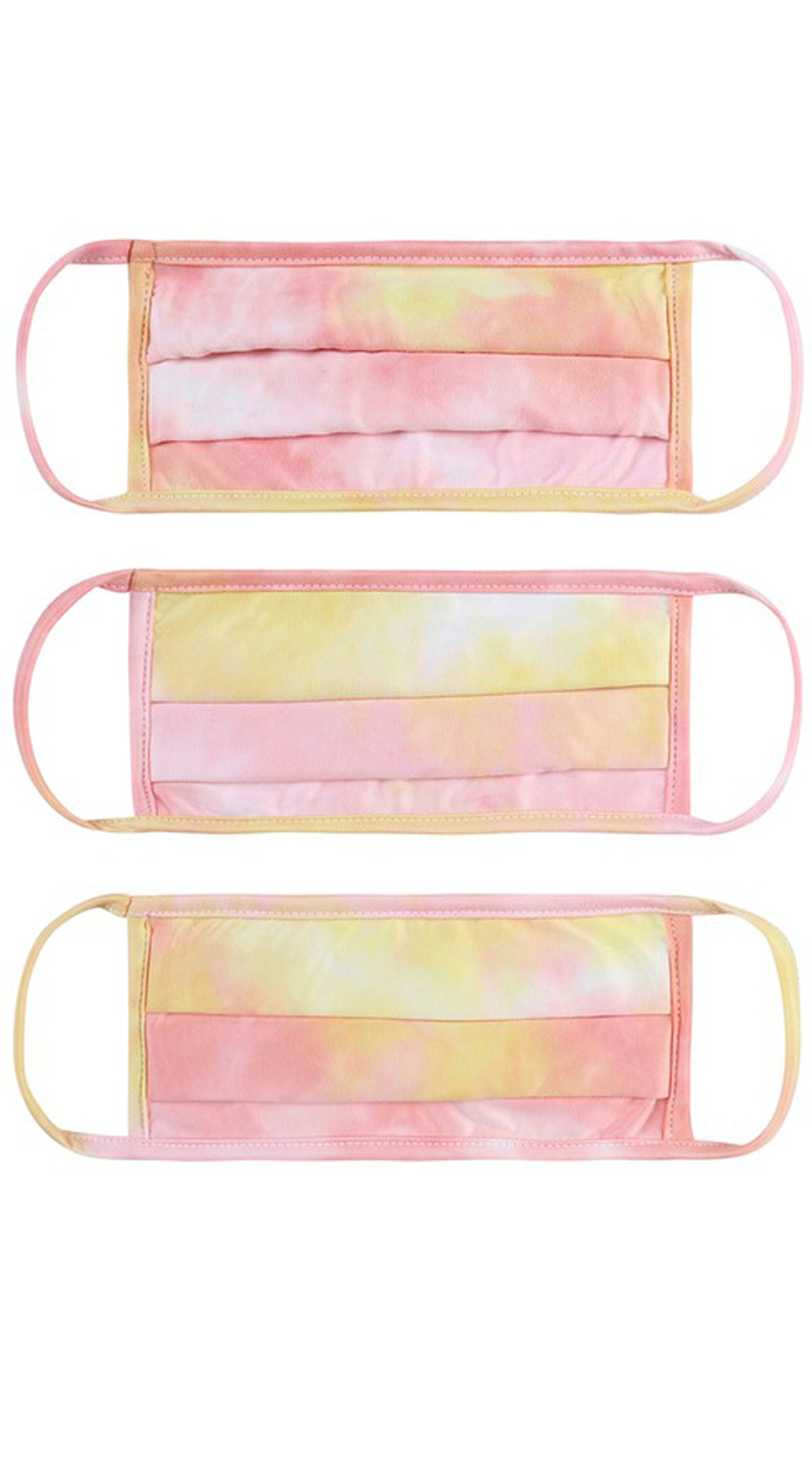 Tie Dye Pink Yellow Kids Reusable Face Mask
