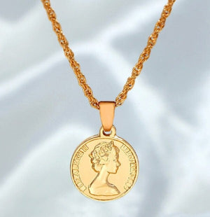 Gold Color Portrait Coin Pendant Necklace