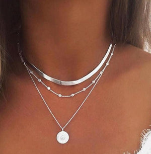 Multilayer Silver Coin Pendant Necklace