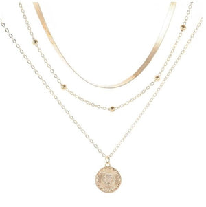 Multilayer Gold Coin Pendant Necklace