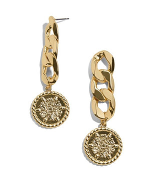 Round Coin Gold Dangle Chain Earrings