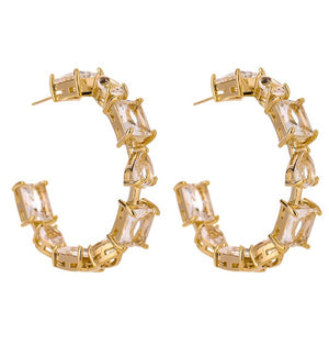 C Shape Gold Plated Cubic Zirconia Stud Earrings