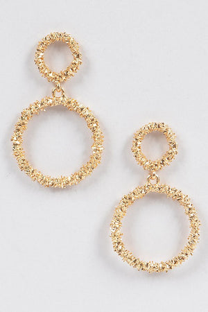 Textured Gold Round Dangling Earrings