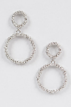 Textured Silver Round Dangling Earrings