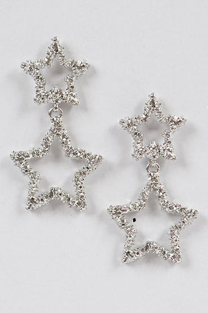 Textured Silver Star Dangling Earrings