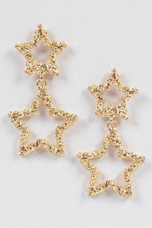 Textured Gold Star Dangling Earrings