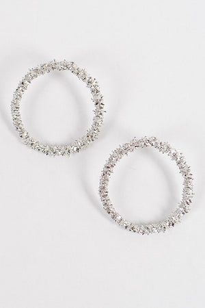 Textured Silver Round Circle Earrings