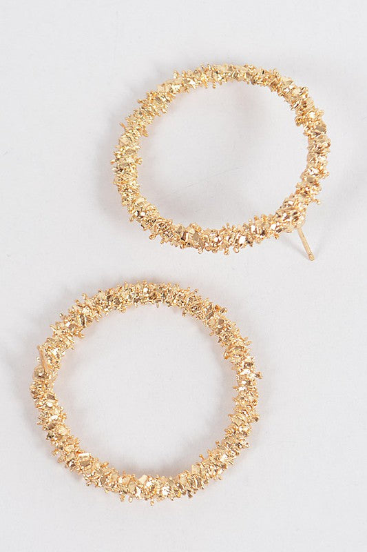 Textured Gold Round Circle  Earrings