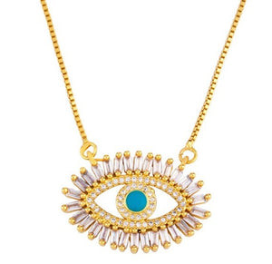 Evil Eye Gold Plated Cubic Zirconia Necklace