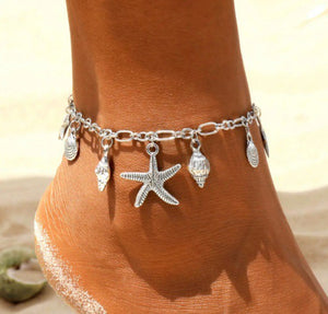 Summer Shell and Starfish Silver Anklet