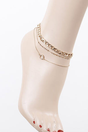 Gold Multi Layered Circular Pendant Anklet